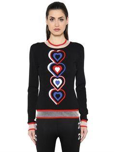 FENDI Heart Intarsia Knit & Tulle Sweater, Black. #fendi #cloth #knitwear
