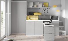 Cama alta , dispones de una cama en lo alto, y aprovecha el resto del espacio para dar capacidad de almacenaje. La cajonera dispone de ruedas para salir y hacer de mesa de estudio.