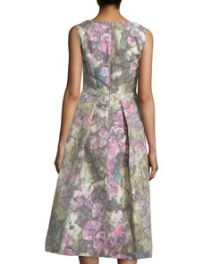 Sleeveless Muted Floral-Print Dress