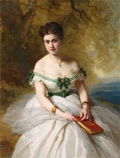 "Franz Xaver Winterhalter--""Portrait of Marie Marguerite Ada Calhoun"" Franz Xaver Winterhalter, Victorian Art, Victorian Fashion, Female Portrait, Female Art, 19th Century Fashion, Classical Art, Vintage Artwork, Historical Costume"