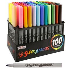Super Markers Set with 100 Unique Marker Colors Best Offer. Best price Super Markers Set with 100 Unique Marker Colors - Universal Bullet Point Tips for Fine and Bullet Lines - Bold Vibrant Colors - Includes a Marker Storage R Adult Coloring Pages, Coloring Books, Unique Colors, Vibrant Colors, Rainbow Colors, Bullet Journal Examples, My Planner Colibri, Marker Storage, Shopping