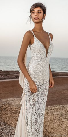 galia lahav gala 2017 bridal sleeveless spagetti strap deep plunging v neck full embroidered elegant sexy sheath wedding dress open low back chapel train (804) mv