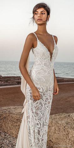 galia lahav gala 2017 bridal sleeveless spagetti strap deep plunging v neck full embroidered elegant sexy sheath wedding dress open low back chapel train (804) mv