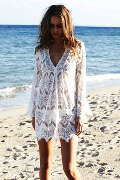 9d55dceae3 V-neck Bikini Cover Up Cotton Lace Hollow Beach Dress Swimwear Beachwear.  Item type Bikini cover up. 1 x Beach Dress. Lace Hollow Bikini Cover Up  Swimwear ...