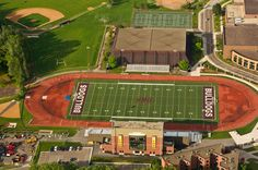 James S. Malosky Stadium Aerial VIew- Named after legendary Bulldog Football Coach Jim Malosky, since its opening in 1966, Malosky Stadium seats 4,500 and is home to Bulldog Football, Soccer & Track/Field. Malosky stadium has since been updated to included a 4 level-structure complete with concessions, a club room, and press/broadcasting.