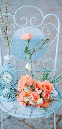 Whimsical Wedding Inspiration Shoot With an Orange & Aqua Palette Orange Wedding, Wedding Colors, Wedding Flowers, Wedding Bouquets, Shabby Chic, Shabby Vintage, Aqua Color Palette, Color Azul, Colour