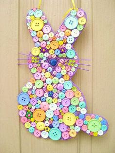Button Easter Bunny Easter Decoration Spring #DIY craft