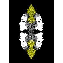"Juliste ""Kiemuranaama, keltainen"" - A4, A3, 50x70cm Chandelier, Ceiling Lights, Design, Home Decor, Candelabra, Decoration Home, Room Decor, Chandeliers"