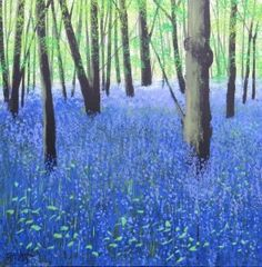 """Bluebell Woodland"" by Terry Wood Art Gallery Uk, Online Art Gallery, Paintings For Sale, Art For Sale, Original Artwork, Woodland, Landscapes, Artist, Plants"