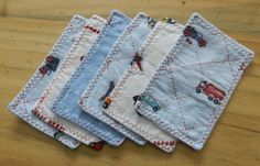 set of 6 baby boy washcloths or wipes, reclaimed flannel fabric, 2 ply, 3 x 5.5. $4.00, via Etsy.