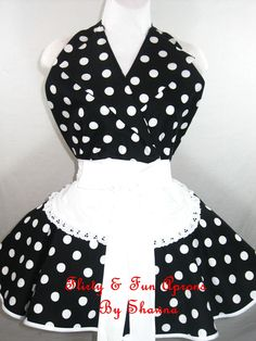 Retro Pin Up I Love Lucy Costume Apron with Black and White Polka Dots. $55.00, via Etsy.