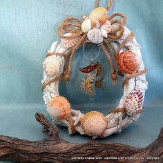 Sea Horsin around beach wreath by CarmelasCoastalCraft on Etsy, $22.00