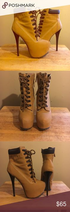 """Women's Timberland Heel Boot Fall season Ladies!! Get yourself a stylish pair of 5"""" Stiletto heeled timberland boot. Worn once. Great condition. Timberland Shoes Heeled Boots"""