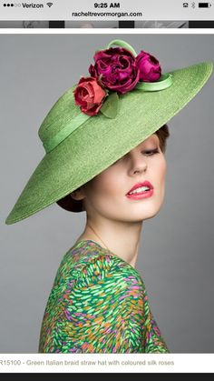 Rachel Trevor Morgan Millinery S/S Green Italian straw cut through with coloured roses. Rachel Trevor Morgan, Kentucky Derby Hats, Fancy Hats, Wearing A Hat, Wedding Hats, Love Hat, Mode Vintage, Hat Pins, Hats For Women