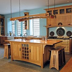 Aqua walls and warm oak kitchen cabinetry Arts And Crafts For Adults, Arts And Crafts House, Home Crafts, Arts And Crafts Interiors, Arts And Crafts Furniture, Kitchen Paint, Kitchen Design, Kitchen Decor, Kitchen Ideas