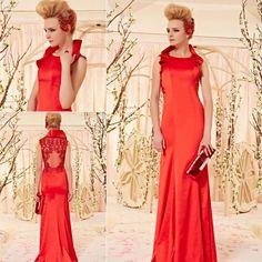 鮮やかレッド! 襟付きデザインの高級ロングドレス♪ - ロングドレス・パーティードレスはGN|演奏会や結婚式に大活躍!