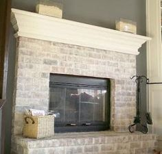to Whitewash a Dated Brick Fireplace How to white wash . to Whitewash a Dated Brick Fireplace How to white wash . Find this home on Fireplace Makeover: Tiling The Mantel With Marble Herringbone New Homes, Fireplace Makeover, White Wash Brick, White Wash Brick Fireplace, House, Diy Home Decor, Home, Home Diy, European Home Decor
