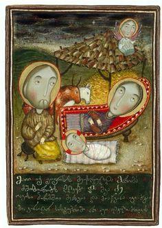 Art of Popiashvili-ს ფოტო. Catholic Art, Religious Art, Birth Art, Byzantine Art, Art Icon, Prayer Cards, Orthodox Icons, Sacred Art, Native Art