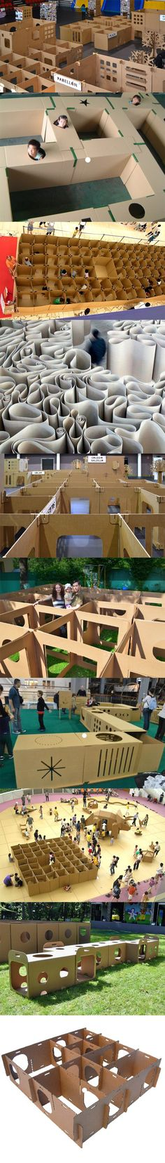 Kids love cardboard mazes! Labyrinth made in cardboard perfect for children activities #labyrinth #maze #cardboardmaze