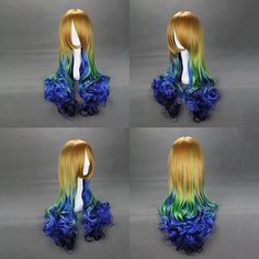 Yellow and Green and Blue Gradient 65cm Punk Lolita Wig