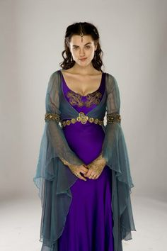 The Costumes of Merlin: Purple and Blue 'Dairy Milk' Dress Medieval Fashion, Medieval Clothing, Historical Clothing, Renaissance Costume, Medieval Costume, Ao Dai, Medieval Gown, Fantasy Dress, Costume Design