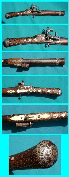 Daghestan flintlock saddle pistol 19th century, silver, ivory.