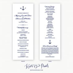 Anchor Monogram Nautical Style Wedding Programs  by KNOTSandPEARLS  | www.knotsandpearls.com