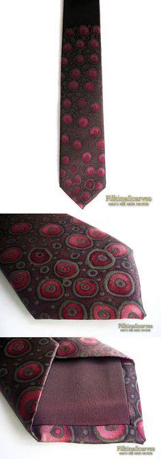 @FilkinaScarves Etsy Luxury Men's Silk Tie Hand Painted Necktie Brown Tie