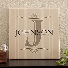 "Elegant Monogram 12"" x 12"" Personalized Canvas Print"