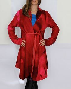 Red wool coat, Felted red wool coat, Soft wool cape, Red cape coat