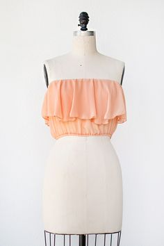 vintage inspired peach ruffle bandeau top