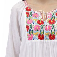 Mexican Embroidered Dress, Mexican Blouse, Mexican Outfit, Embroidered Clothes, Kurta Designs, Blouse Designs, Boho Crochet Patterns, Nightgown Pattern, Night Dress For Women