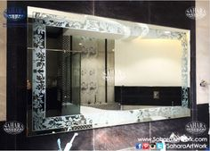 Bathroom silver mirror with back sandblasted floral frame and backlights