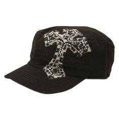 Black/Gray HUGE LEOPARD CROSS Rhinestone Cadet Cap        Black military style cadet cap with design  Crystal rhinestone design