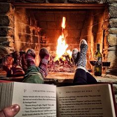 getting snug and warm around a fireplace with a juicy book nothing better than that