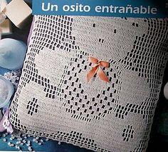 Agh teddy bear crochet filet work with diagram