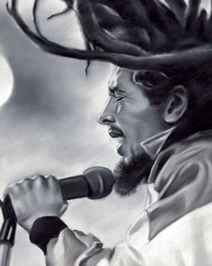 Bob Marley, painting, poster, print, reproduction, drawing by artist eugene 22.4x28 inches via Eugene's Portraits. Click on the image to see more!