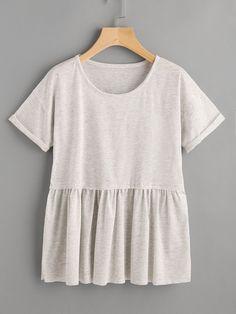 Shop Cuffed Sleeve Slub Smock Tee online. SheIn offers Cuffed Sleeve Slub Smock Tee & more to fit your fashionable needs.