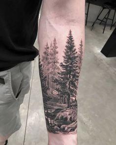 Landscaping Tattoo Sleeve 70 Ideas For - Tattoo Designs Men Mountain Sleeve Tattoo, Forest Tattoo Sleeve, Forest Forearm Tattoo, Nature Tattoo Sleeve, Forearm Sleeve Tattoos, Tattoo Sleeve Designs, Tattoo Designs Men, Tattoo Nature, Tree Tattoo Sleeves