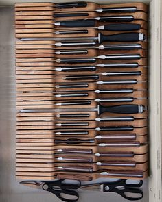"Knives      ""In-drawer wooden knife trays save counter space,"" Martha says. Knife trays, broadwaypanhandler.com."