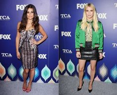 Lea Michele and Emma Roberts both wore multi-patterned outfits while promoting Scream Queens season 2 at the FOX TCAs. Michele rocked a strapless lace Marchesa frock while Roberts went a more casual route in a Coach ensemble: embellished leather skirt, floral top and silk bomber jacket. See more style pics!
