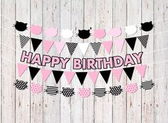 Cat Party Decorations, Kitty Cat Birthday Banners, Cat Party Banners, Kitty Birthday Party Decor, Cat Birthday Decorations, Cat Garlands by ShootingStarsParties on Etsy https://www.etsy.com/listing/495086092/cat-party-decorations-kitty-cat-birthday