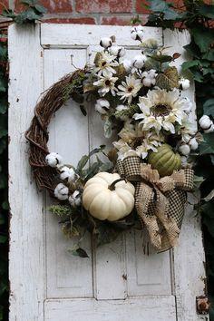 Fall Farmhouse Wreath, Pumpkin wreath, Rustic Farmhouse Fall Door wreath with Cotton, Autumn Sunflow – Wreath decor Thanksgiving Home Decorations, Harvest Decorations, Thanksgiving Wreaths, Garden Decorations, Double Door Wreaths, Mesh Wreaths, Cotton Wreath, Pumpkin Wreath, Sunflower Wreaths