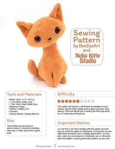 Sitting Kitty Cat Stuffed Animal Sewing Pattern, PDF Plush Pattern - Digital Download