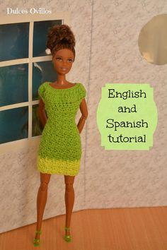 Dulces Ovillos: Vestido a crochet para Barbie - Crochet dress for Barbie Made to Move
