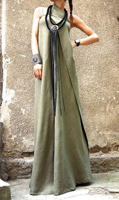 NEW Maxi Dress / Olive Green Kaftan Linen Dress / One