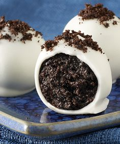 OREO Cookie Balls recipe - One of the best reasons ever to crush your Oreo Cookies. So rich and creamy, they're also the best reason ever to hang out by the dessert table.  #Recipe #Chocolate #Oreos
