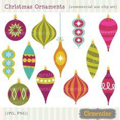 Retro Christmas Ornament Clipart Clip Art Vintage Decorations Vectors