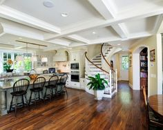 Kitchen White Open-stairs Design, Pictures, Remodel, Decor and Ideas