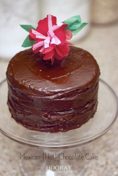 Mexican Hot Chocolate Cake. So moist and has a hint of something special that makes it perfect!